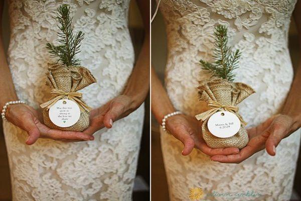 Winter Wedding Decor: Pine