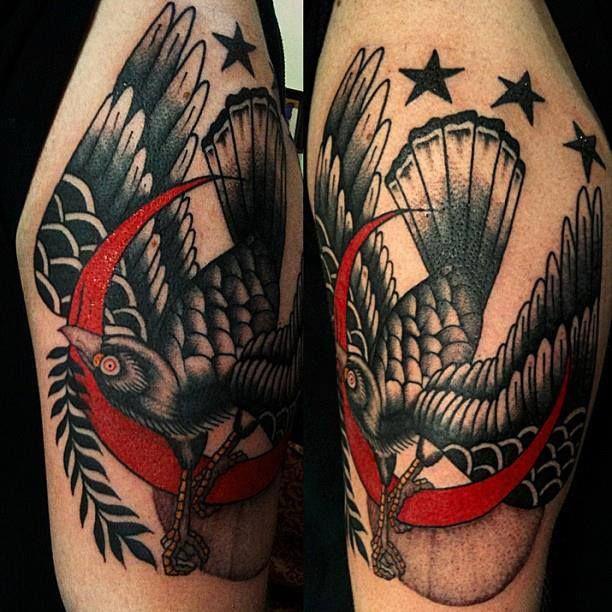 Black bird red crescent moon tattoo by al boy tattoo for Traditional moon tattoo