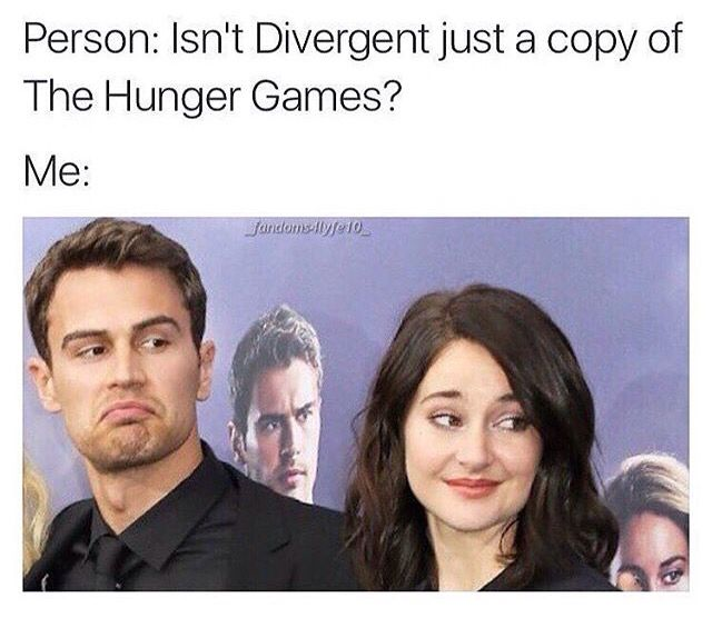 NO. My friend came over for dinner and she was like divergent is just a cheaper version of the hunger games...because she was my friend, I tried not to lose my cool so I just said no its really not