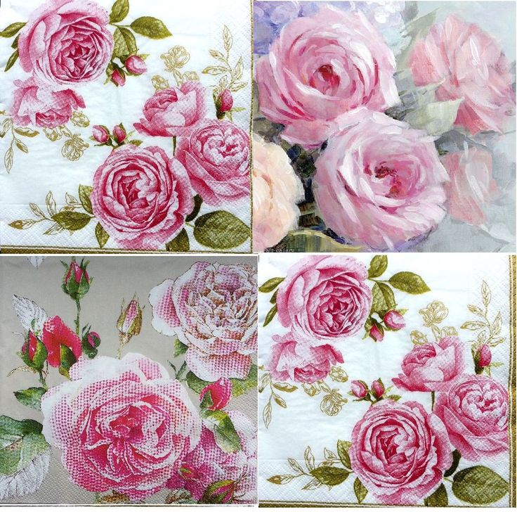4 x Single Vintage Table Paper Napkins / Craft/ Party / for Decoupage / FLORAL 3