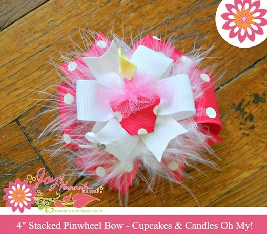 Pink and White Birthday Hair Bow with Cupcake Ribbon Sculpture for Girls