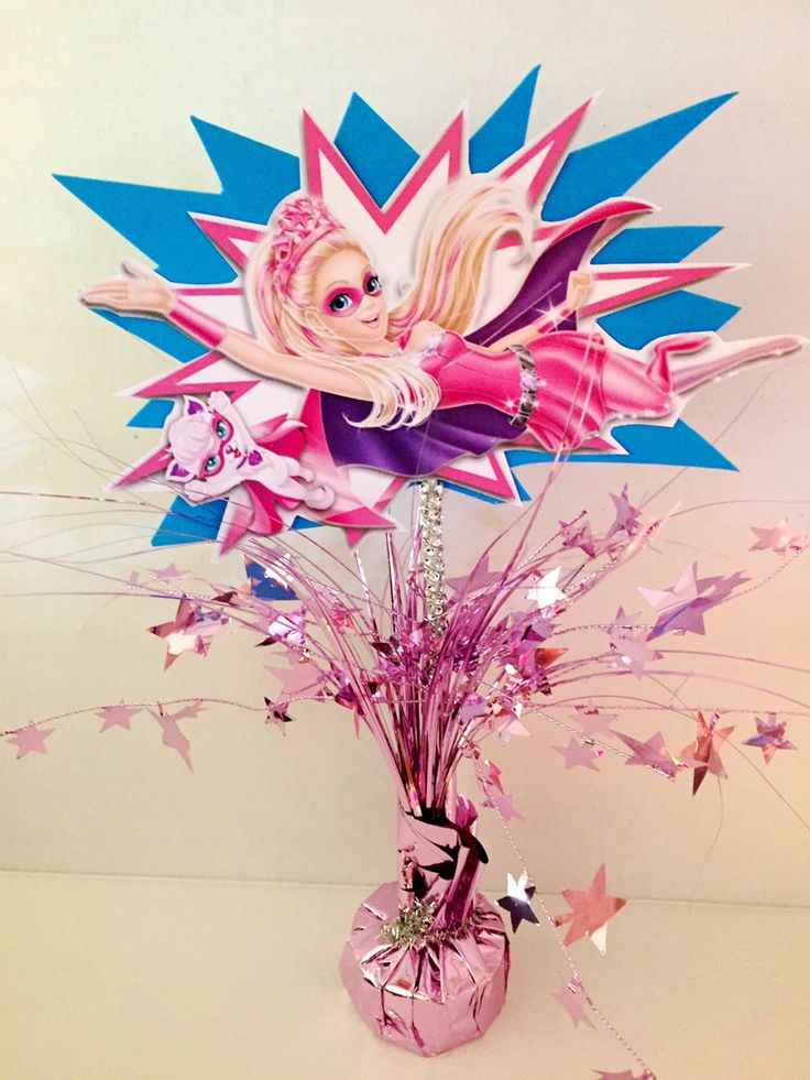 Barbie in Power Princess- DYI birthday center piece for girls superhero theme.