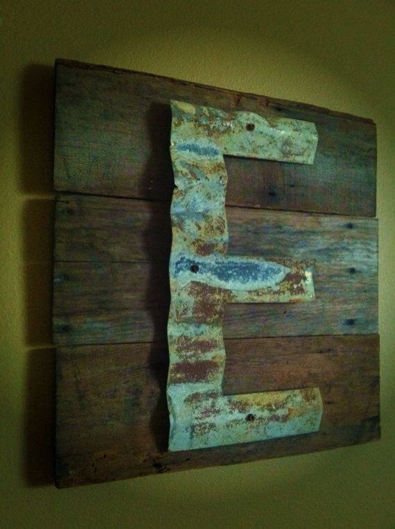reclaimed pallet barn wood. reclaimed barn wood upcycled sign patina initial monogram corrugated steel beach house vacation home approx x 18 thick this pallet r