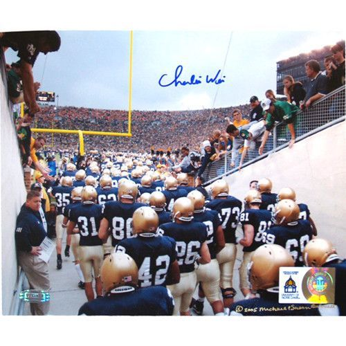 Charlie Weis Watching Team Walk out of Tunnel 8x10 Photo