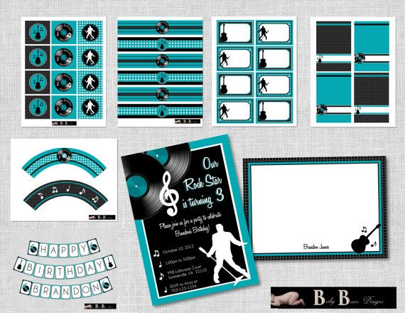 Rock & Roll Music Birthday Party Pack Printable by BabyBunsDesigns, $35.00