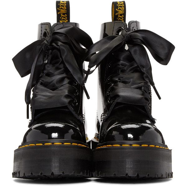 Dr. Martens Black Six-Eye Molly Lolita Boots (735 BRL) ❤ liked on Polyvore featuring shoes, boots, ankle booties, black platform boots, black patent booties, black boots, platform bootie and black booties