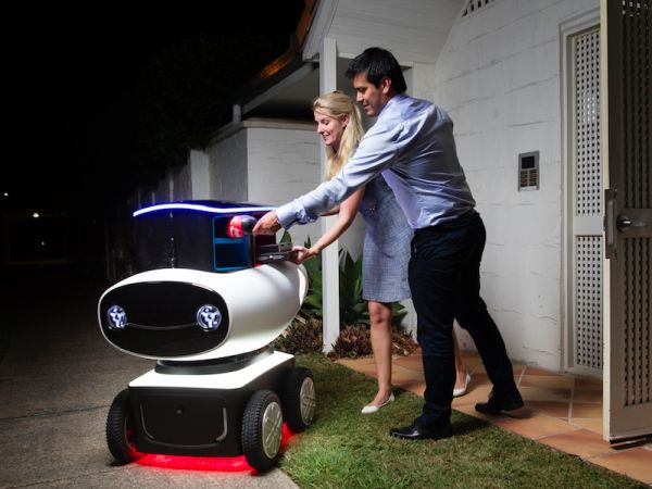 Would you want a robot to deliver your next pizza? Fas delivery, no tipping, and it'll text you when it's 1 minute out.