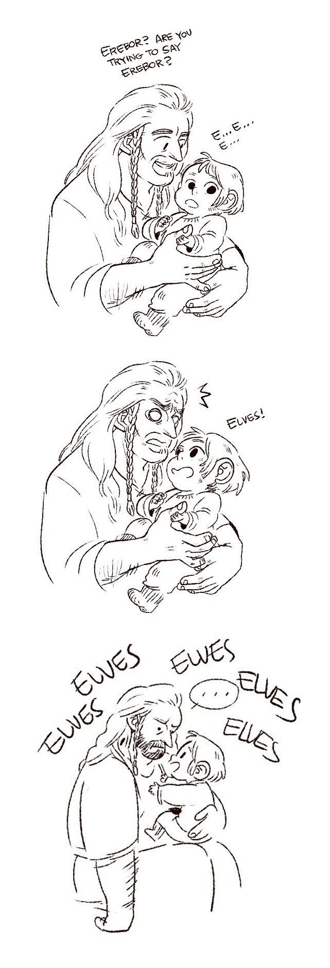 Kili's first word by papermachette on tumblr