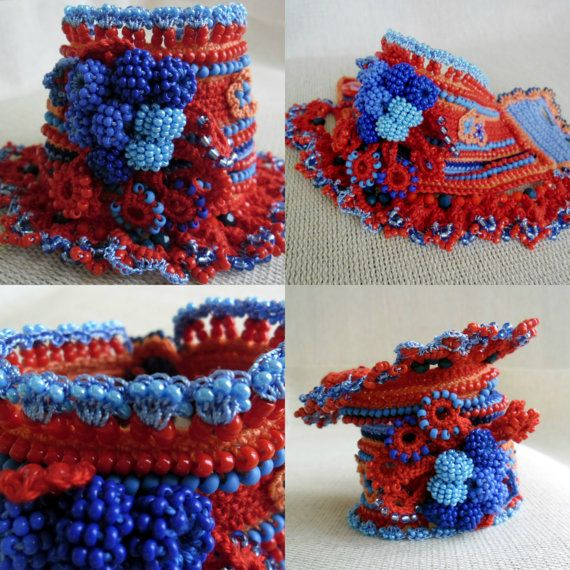 Bracelet Cuff Crochet Bracelet Cuff Cuff by SvetlanaCrochet