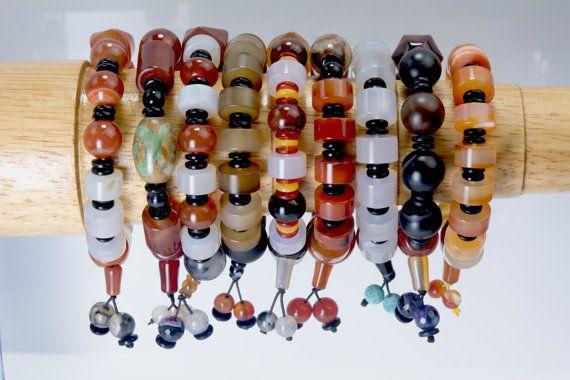 chunky agate bracelets guru agate beads bracelet by VitaGems