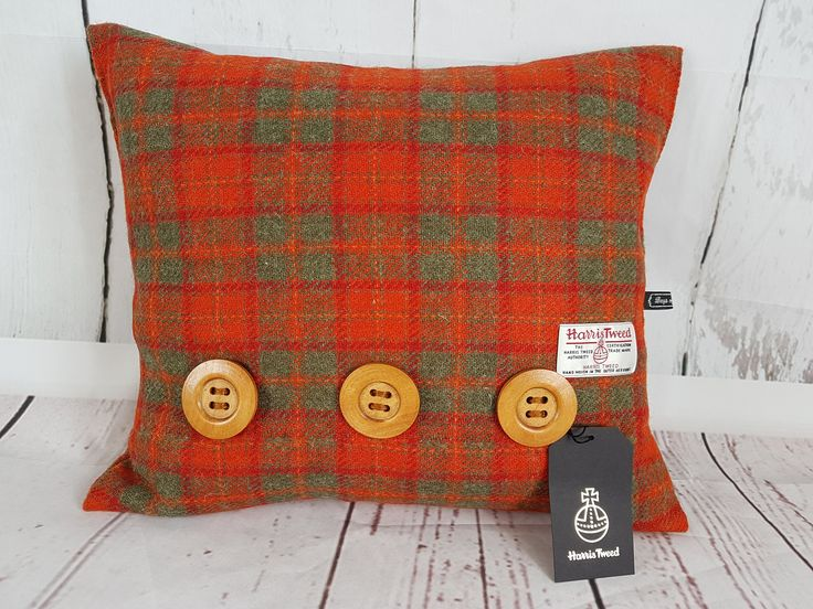 Harris Tweed Rectangle Cushion, Orange and green check tartan, Lower back support, Sofa cushions, Bedroom cushions, Wooden Buttons, by Bagsofgrumpiness on Etsy