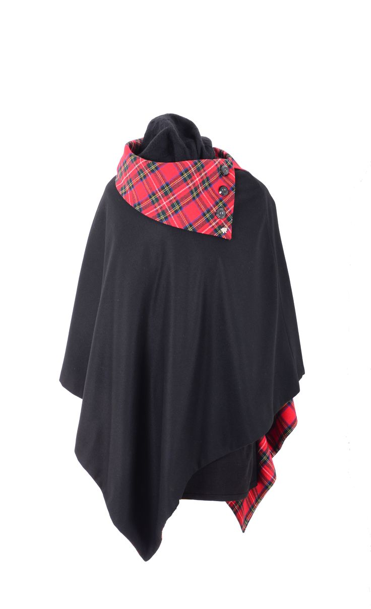 This sophisticated garment is made from the finest 100% Pure New Wool in black and lined with Royal Stewart tartan, also in Pure New Wool. It has a larger collar decorated with large buttons to add detail to the left hand side.  The underside of the collar is black so that if you turn this Poncho inside out, it could be worn that way and you would have a black collar on a tartan garment. This is a very smart Poncho and a popular design this season.