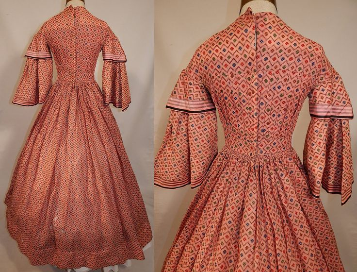 "Victorian 1850 Pink Wool Challis  Dazzler Hoop Skirt Dress | eBay seller 1860-1960; hand stitched, light weight wool challis, striped silk trim, pleated details on top; pocket in skirt; back hook closure; only bodice lined; bust: 30""; waist: 22""; length: 53""; sleeve: 15"""