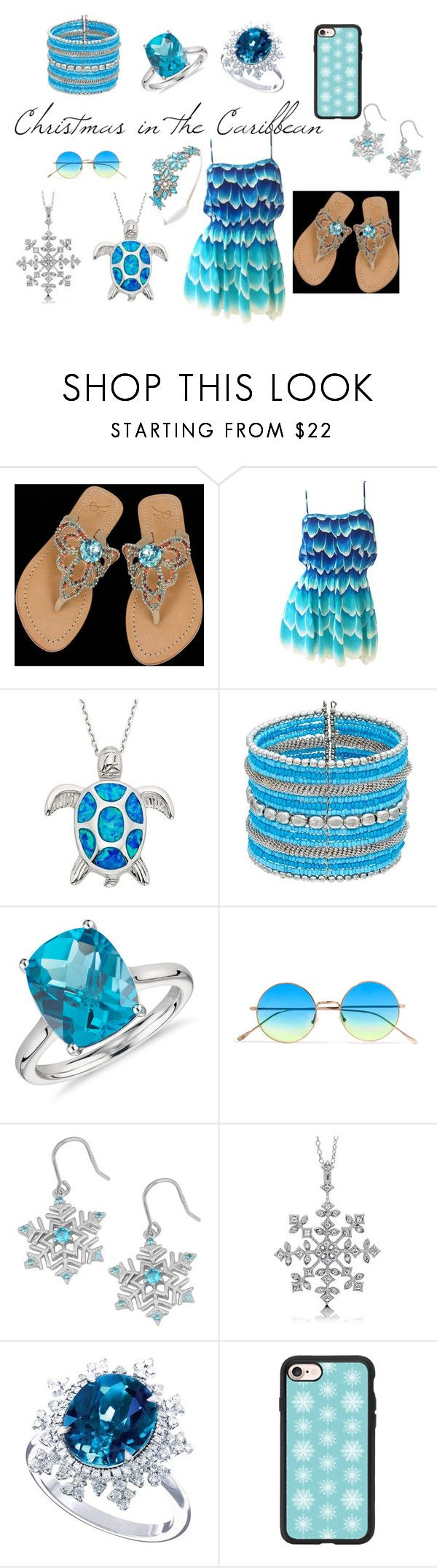 """Christmas In The Carribbean"" by model06 on Polyvore featuring Mudd, Blue Nile, Illesteva, Fremada, BERRICLE, Casetify and Disney"