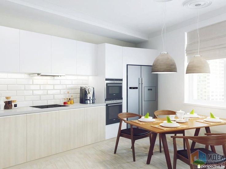 Кухня в светлых тонах, деревянный стол на кухне