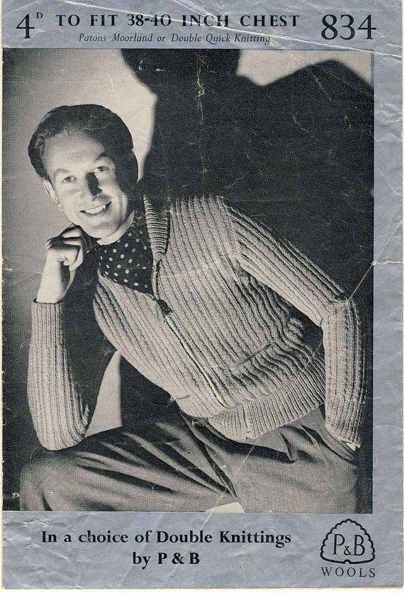 Original 1940s Mens Knitting Pattern.~ Lumber Jacket. P&B Wools by PatternaliaVintage