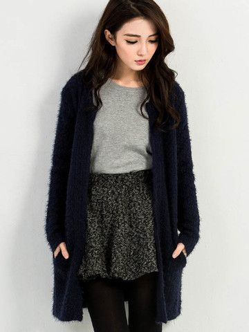 Fluffy Cable Knit Cardigan