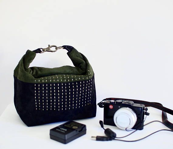 Leather Roll Top Bag Sashiko Stitching Suede Leather #camerabag #suedebag #sashiko #sashikobag #leatherbag