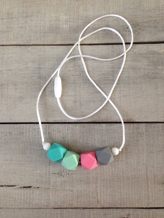 Pastels Geometric Silicone Teething Necklace, Silicone Nursing Necklace, Silicone Beaded Necklace, Breastfeeding Necklace on Etsy, $17.03 CAD