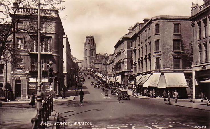 Park Street, Bristol UK, possibly 1930s. The street going off to the right is Unity Street.