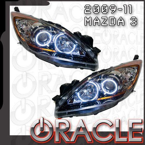 Mazda 3 2010-2012 WHITE Headlights Halos Angel Demon Eyes Kit