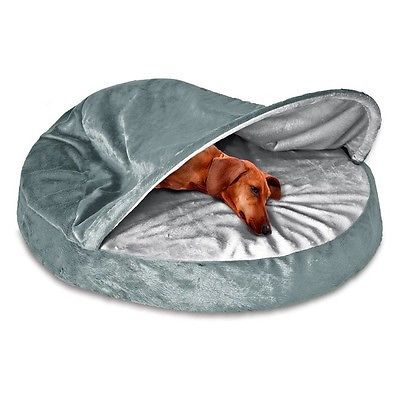 Cave Dog Bed Cozy Medium Hooded Removable Cover Orthopedic Burrow Round Gray Cat