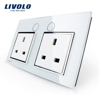 White Crystal Glass Panel UK Standard Wall Power Socket  http://mjhomeshopping.blogspot.com/2015/11/electrical-wall-switches-4.html