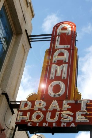 """Movies at the Alamo ~~ This is a MUST do when visiting Austin. Authentic, brilliant, so much fun. """"You can get BEER at a movie theater??!"""""""