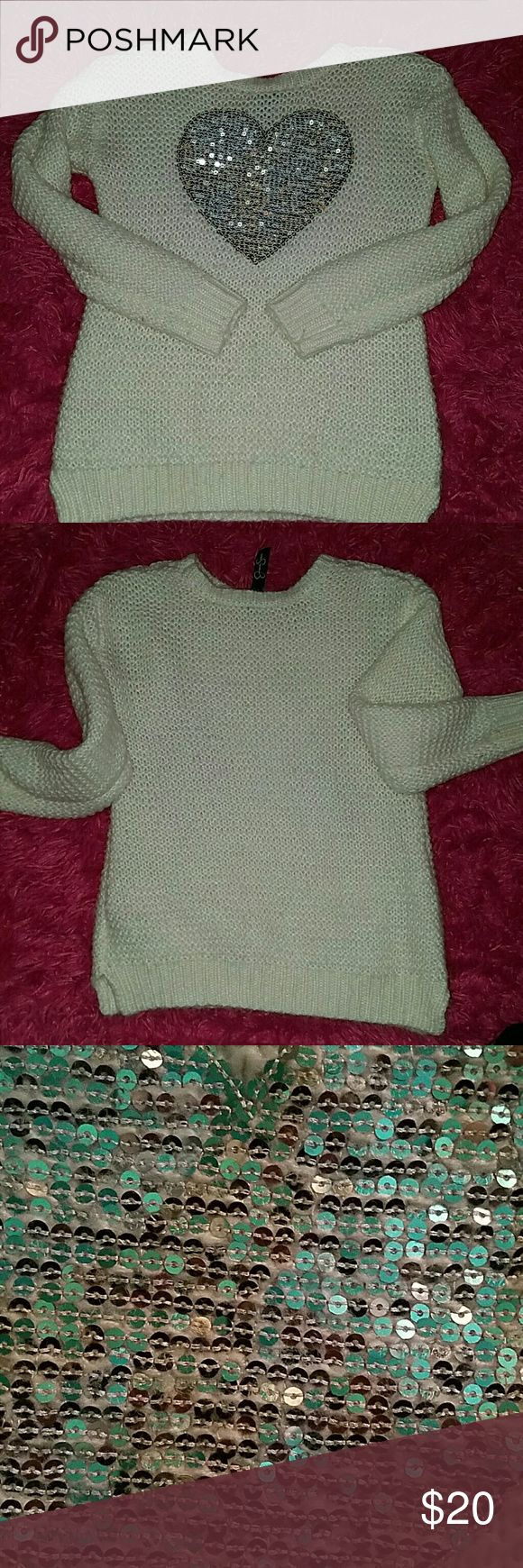 Jessica Simpson kids sweater Off white with silver sequin heart Jessica Simpson Shirts & Tops Sweatshirts & Hoodies