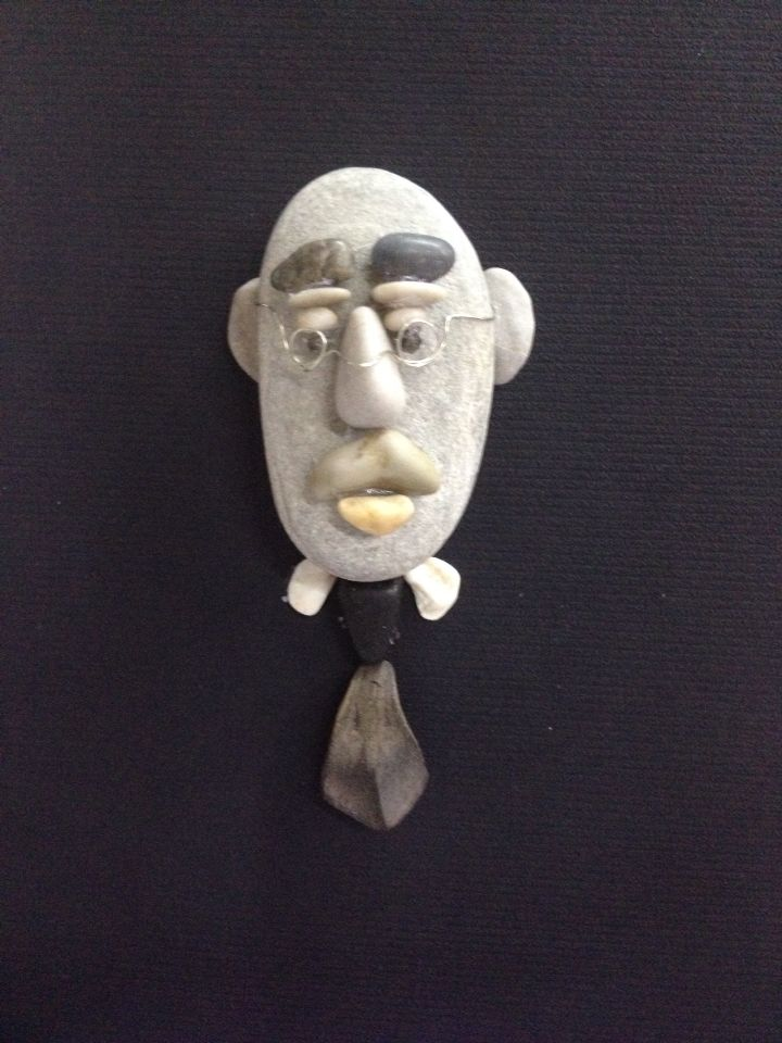 Pebble art Stone man portrait by gülen