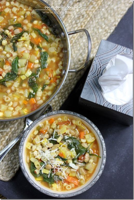 One Pot Seven Vegetable Minestrone Soup