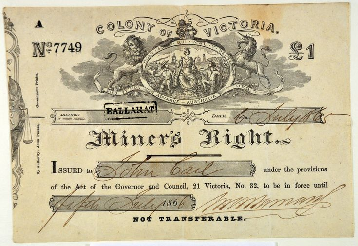 Miner's Right (1865) FRONT (crop) The Miner's Right was introduced in 1855 in the colony of Victoria, replacing the Miner's Licence. Protests in 1853 at Bendigo with the formation of the Anti-Gold Licence Association and the rebellion of Eureka Stockade in December 1854 at Ballarat led to reform of the system with a cheaper annual fee of five shillings the right to mine gold, the right to vote, and the right to own land. Previously the mining licence was eight pounds a year.