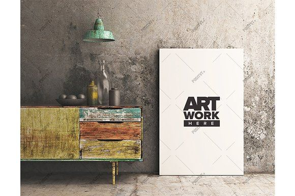Canvas Mockup Reclaimed Cabinet by positvtplus on @creativemarket