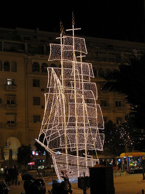Christmas boat, Thessaloniki, Greece