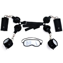 HARD Limits Bed Restraint Kit Everything you need for full body restraint. Restraint straps fit beneath your matress or bed frame with ease and the soft satin wrist and ankle cuffs keep you or your partner firmly in place for bedroom bondage agmes. Slip on the blindfold and let the play begin. carry case included.   For Who:Both Brand:Fifty Shades Of Grey Colour:Black