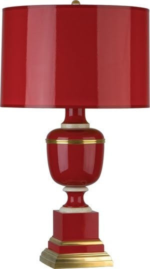 Mary McDonald red lamp manufactured by Robert Abbey