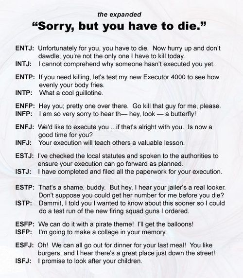 Personality type humor MBTI - I answered the question before I read the INTJ…
