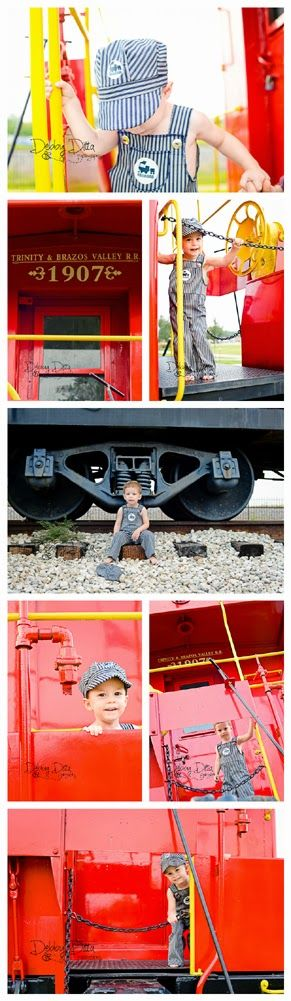 Debby Ditta Photography.  Tomball Texas Train depot.  Baby boy turns 2 Birthday Theme Session.  Red caboose choo choo.