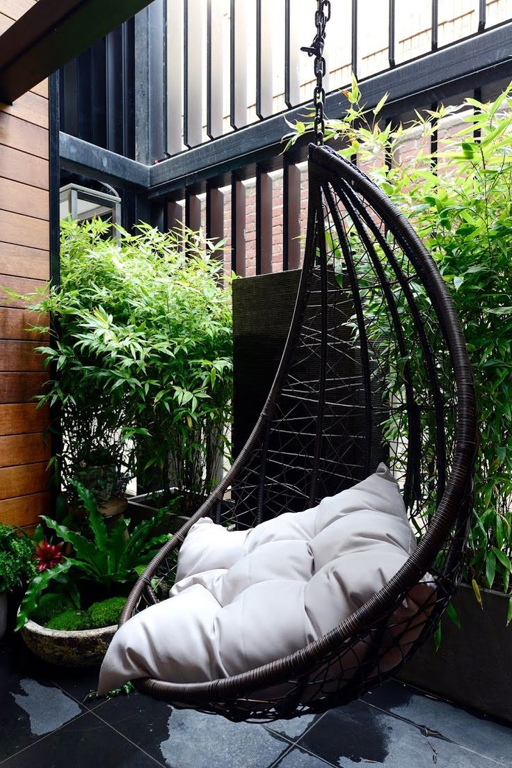 Hanging chair and water feature