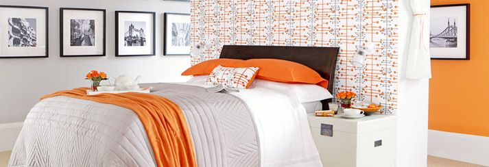 Orange and grey for master bedroom