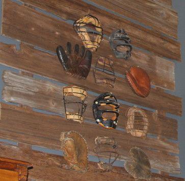 Vintage Baseball Gloves and Catcher Masks Display on Distressed Wood