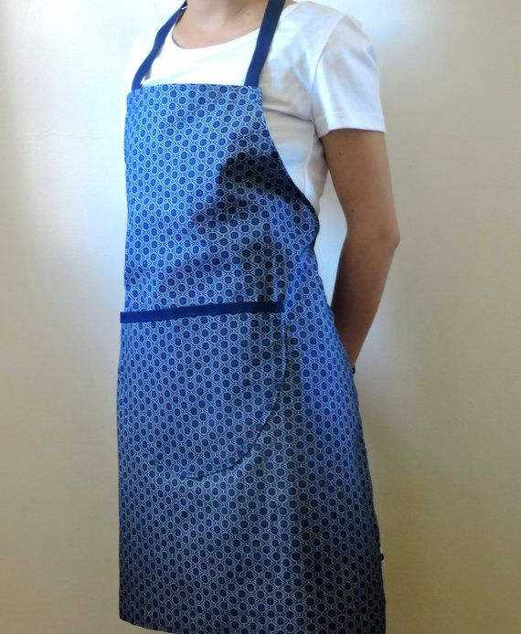 African Shweshwe Apron in blue with pocket. by akwaabaAfrica