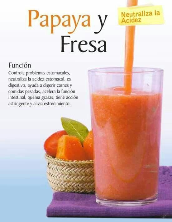 Papaya y fresa ~ neutraliza la acidez #batido