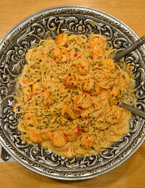 Bang Bang garnalen en pasta