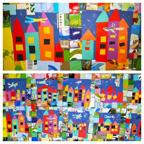 "1st grade Tar Beach city quilt. Create city collage, glue down border, then cut out a picture of the student flying over the city. Create a writing prompt to go with it  "" If I can fly anywhere, I'd fly to.......because........"""