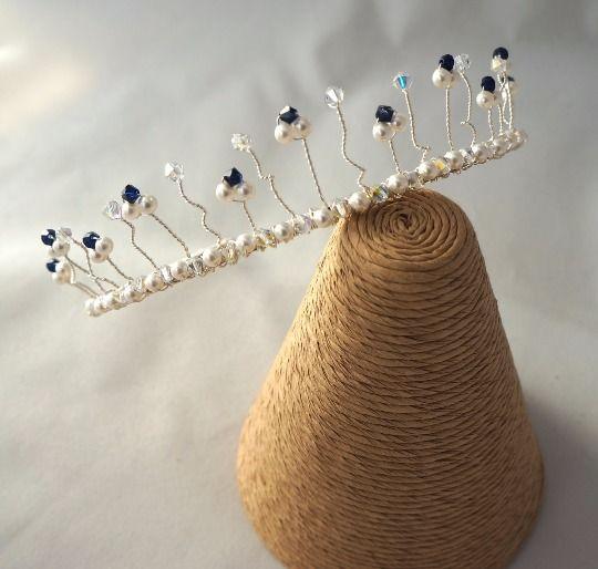 Crystal & Pearl Tiara - Swarovski Tiara - Blue Hair Accessories - Bridal Hair £19.99