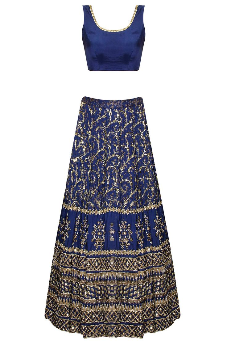 Dark blue sequins embroidered lehenga set available only at Pernia's Pop-Up Shop.