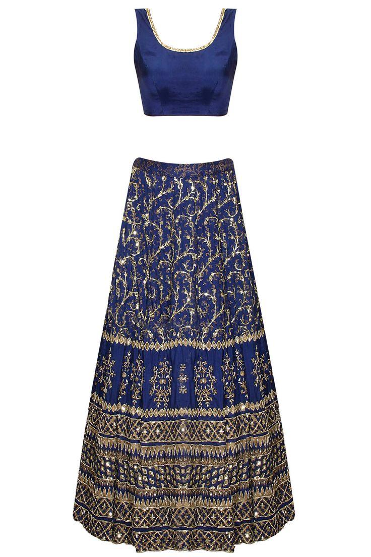 Dark blue sequins embroidered lehenga set by Astha Narang. Shop now: http://www.perniaspopupshop.com/designers/astha-narang #lehenga #asthanarang #shopnow #perniaspopupshop