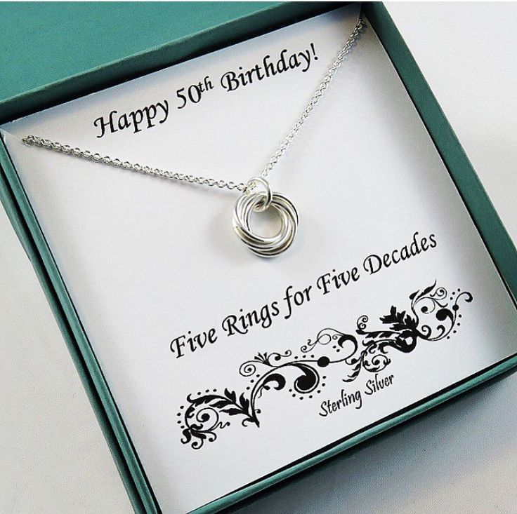 50th Birthday Gift for Women, Sterling Silver Birthday Necklace, 50th Birthday,  Love Knot Necklace, Milestone gifts, MarciaHDesigns,MHD