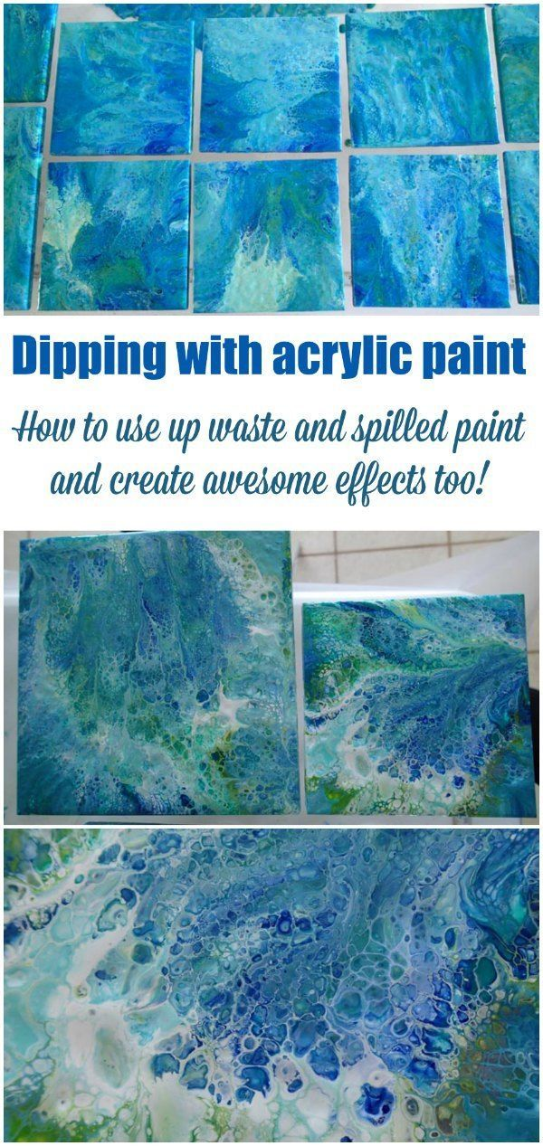 Dipping with acrylic paint - video. How to use up paint wasted or spilled from acrylic pouring with the dipping technique. Great for creating sets of similar looking items such as tiles and coasters.